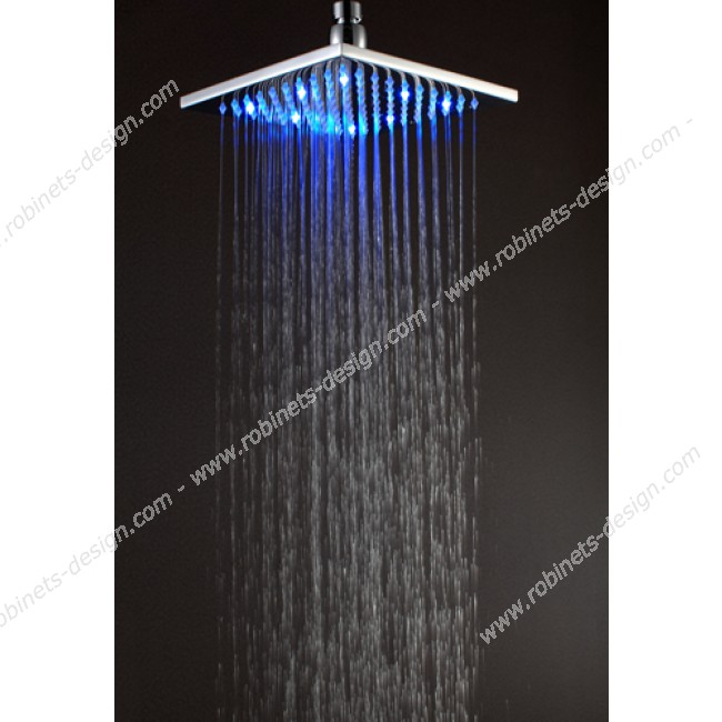 t te de douche lumineuse led carr 30 cm. Black Bedroom Furniture Sets. Home Design Ideas
